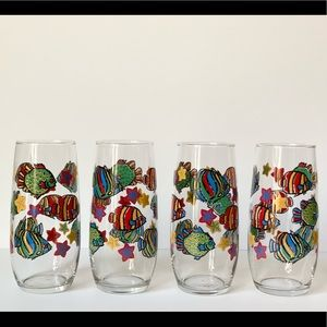 Rare Four Libbey Tropical Fish Glass Tumblers